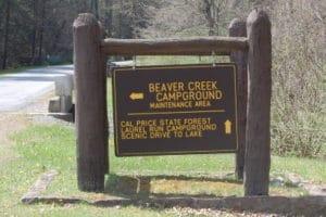 Sign along Beaver Creek Rd Watoga State Park