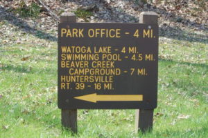 Park Office sign at Lick Island Rd from Seebert