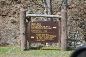 Sign near Park Office at Watoga State Park