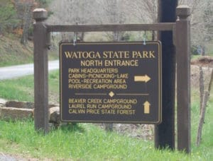 Sign at North Entrance to Watoga State Park on Beaver Creek Rd