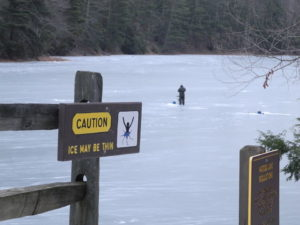 Ice fisherman on Watoga Lake December 30, 2017