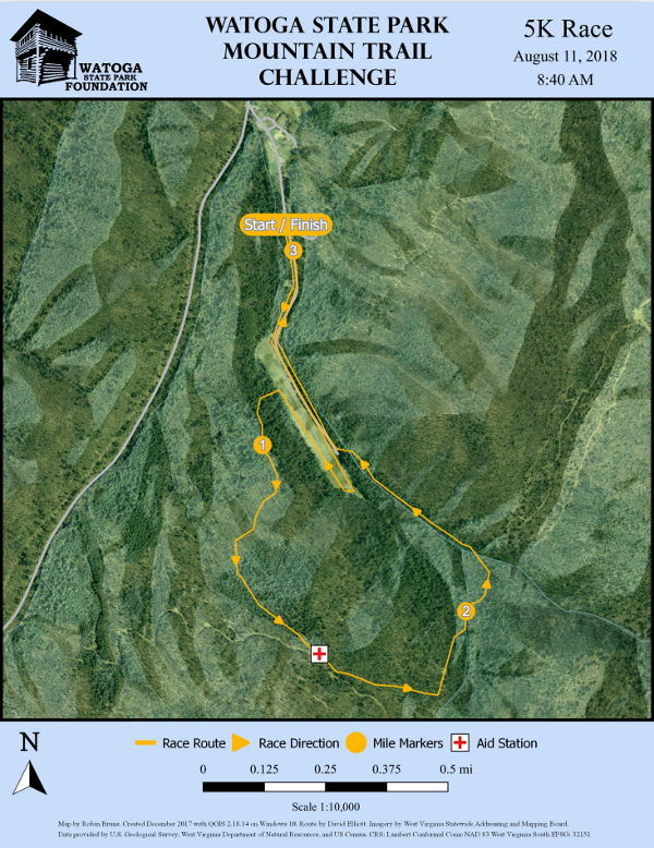 Overhead terrain perspective of 5K Route Watoga Moutain Challenge