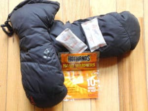 Hand warmers can help protect against frost bite