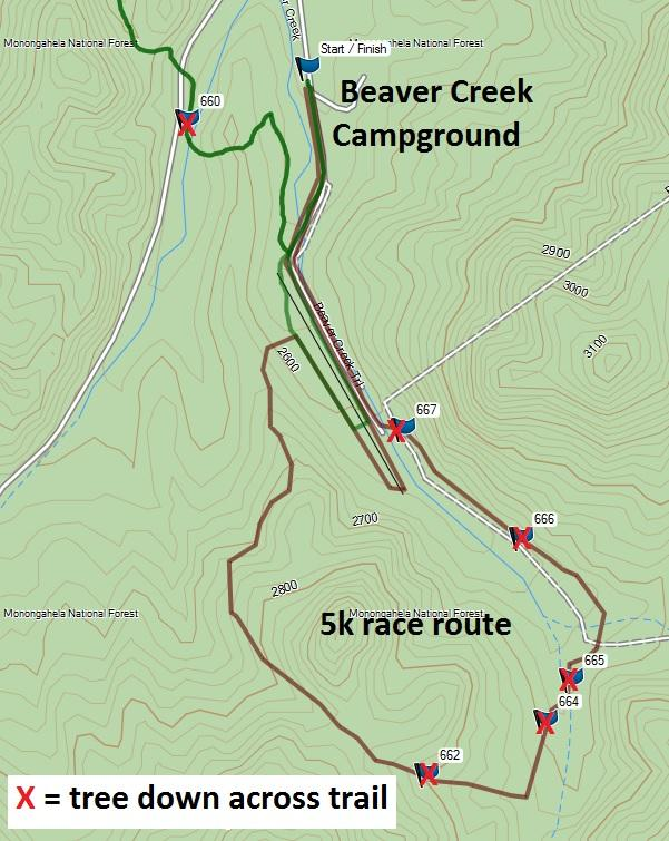 Topo map of the 5K Trail route Watoga State Park
