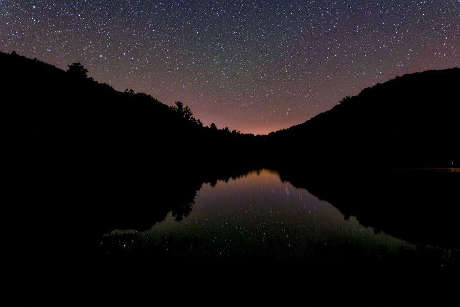 Watoga Lake under a starry sky