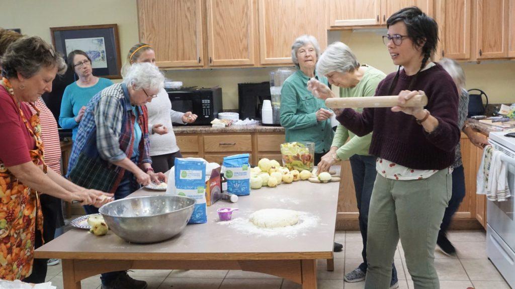 Emily Sullivan  Art of Pie Making workshop at Hillsboro Library community room.