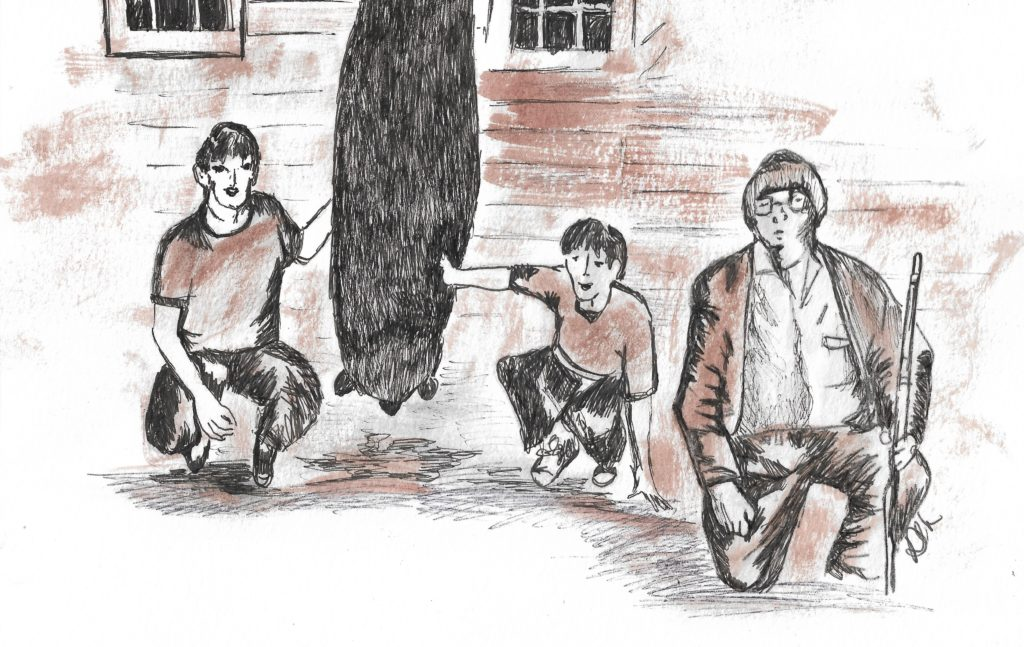 Drawing of black bear killed near Watoga, circa 1970; L-R: Ronnie, Johnny and Vernon Dean. Artistic impression by Debra Lynn Kimball.