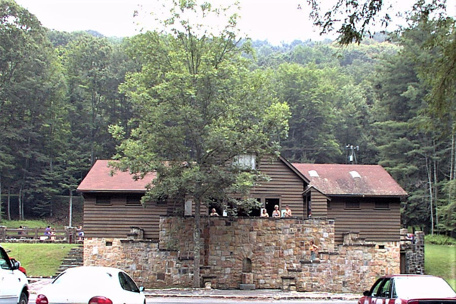 Entrance to bathhouse and swimming pool at Watoga State Park. | Photographer unknown