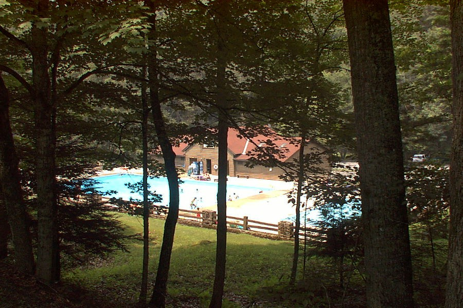 Roadside perspective of the Watoga State Park Swimming Pool before trees were thinned to allow more sunlight. | Watoga Sate Park. | 📸: @john.c.dean