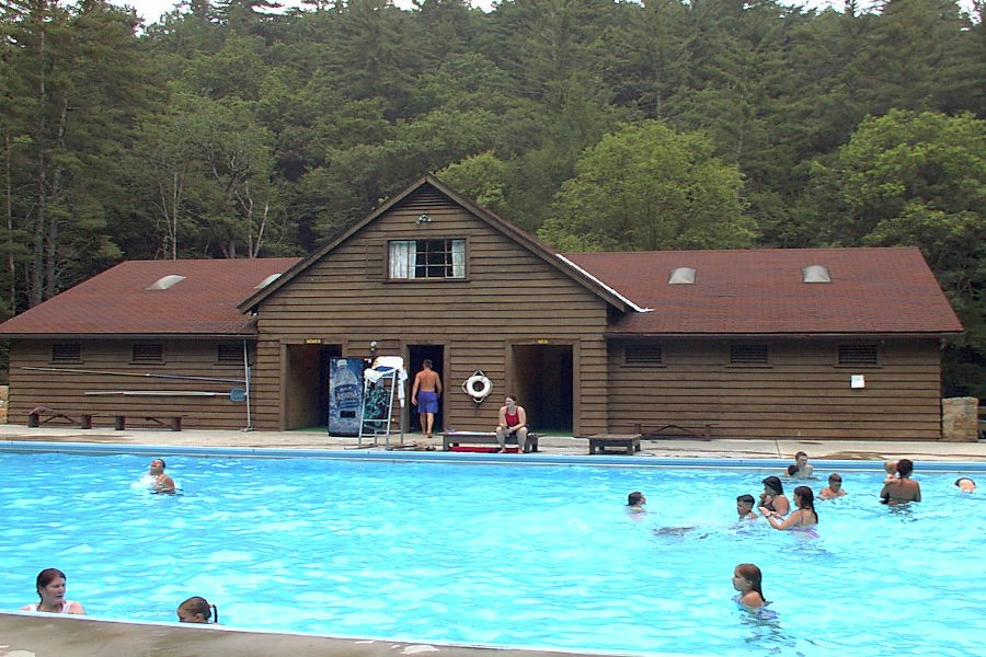 Visitors enjoying a summer afternoon in the Watoga State Park Swimming Pool. | Photographer unknown