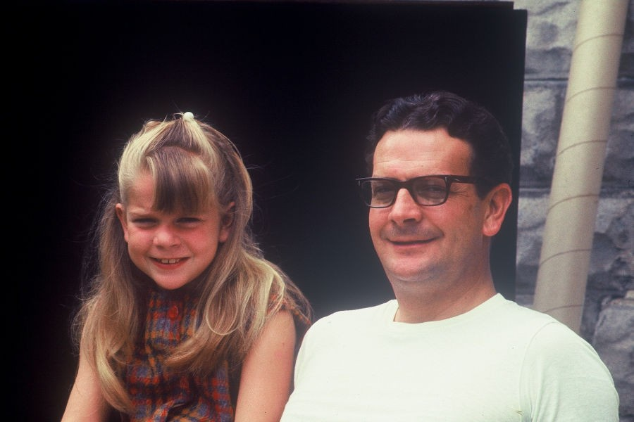 Flora Jane Bott and her dad, Leonard, spent hours together at the swimming pool. This is Flora and her dad in Morgantown, West Virginia in 1969. | 📸: Barbara Bott Joseph.