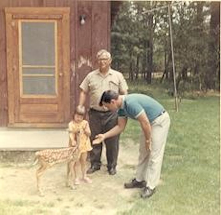 While growing up at Watoga, my family kept a deer rescued by my dad. Pictured, circa 1967 (L-R): My younger sister, Vicki Lynn, my dad and my brother-in-law, Mickey. Photographer unknown.