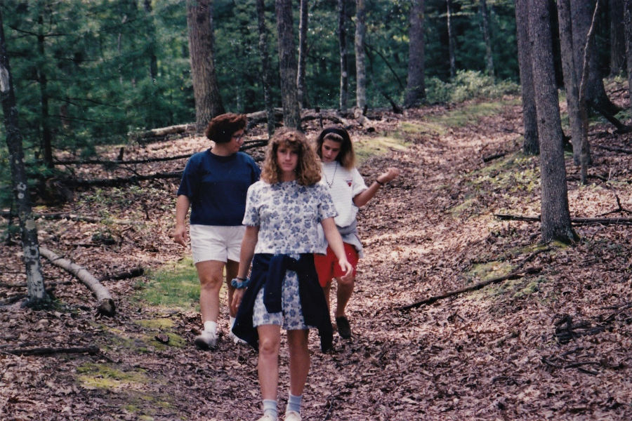 My mom, myself and my sister, Sara, hiking on one of Watoga's many trails in 1990. Pictured in foreground: Me. Background is my mom and sister. 📸: David Bott, 1990.