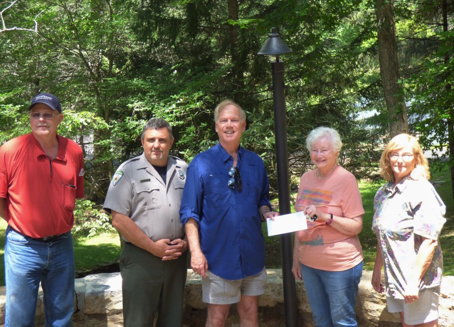 L - R   Wayne Pollard - Foundation board member,  Jody Spencer - Watoga State Park Superintendent, John Norman - First Energy Foundation, Mary Dawson - Foundation board member, Louanne Fatora - Foundation board member.