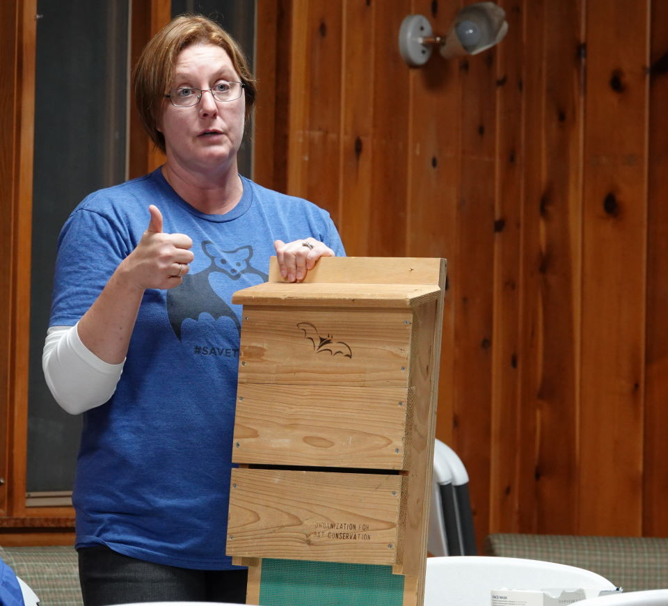 Cindy Sandeno discusses bat house with workshop participants at Watoga State Park, a would be Dark Sky Park