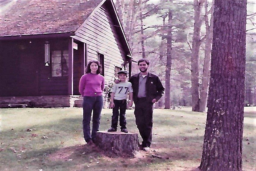 In a wooded setting at Watoga is the Caplinger family making memories at Watoga State Park. Watoga is West Virginia's largest recreation area.
