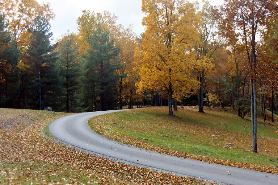 A curving road separates trees of yellow, magenta and tall pines lead the way along a leaf-lined road at Watoga State Park. A picturesque fall scene unfolds near T.M. Cheek Memorial at Watoga State Park. Photo by Stanley Clark©.