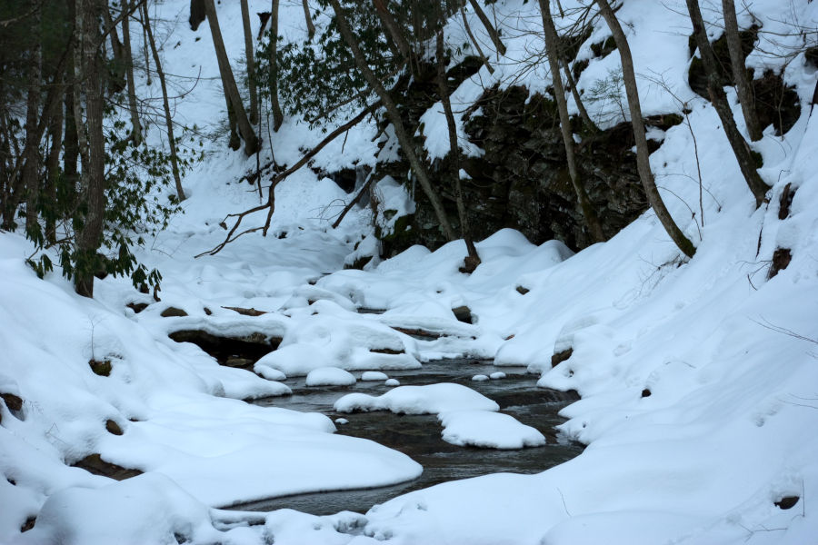 A fresh coating of snow during a Christmas scene at Watoga lines the banks of a mountain stream. During Christmas at Watoga, the author and his brother encountered scenes such as this near the Island Lick Run Cabin area. Photo by Stanley Clark©