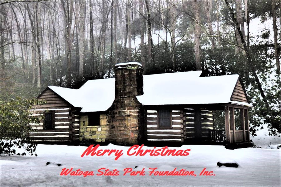 A snowy backdrop for Christmas at Watoga State Park in Pocahontas County. Photo by the Watoga State Park Foundation.
