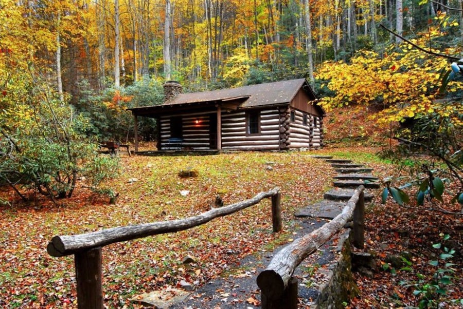 An array of fall colors presents itself up a stone walkway leading to a mountain cabin at Watoga State Park.Framed ever so perfectly by fall's foliage is a cabin built by the Civilian Conservation Corps in the 1930s. Photo by the Watoga State Park Foundation©.