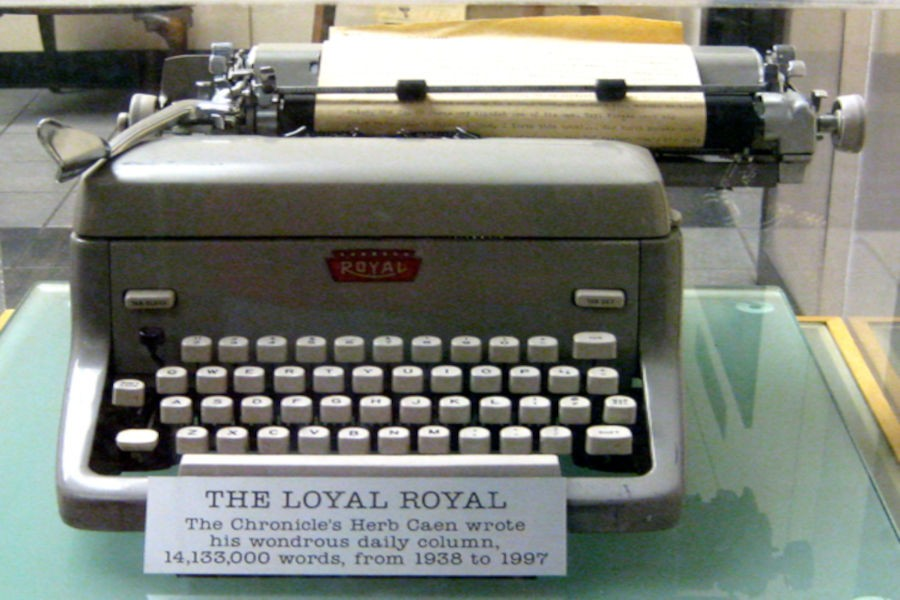 "News produced on a classic Royal typewriter. Longstanding columnist Herb Caen, of the San Francisco Chronic called this his ""Loyal Royal."" Notice the millions of words typed."