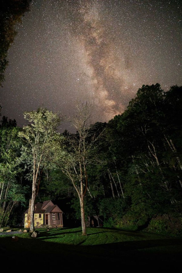 The Milky Way Galaxy above a Watoga cabin. Photo by Jesse Thronton©.