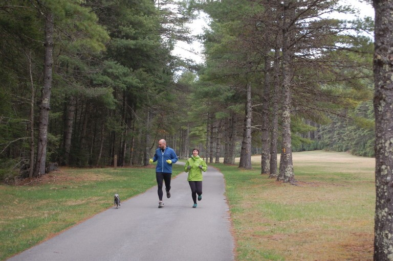 Joggers along road at Beaver Creek Campground.  Photo by Watoga State Park Foundation.