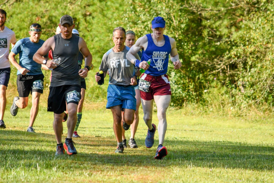 Serious looks are on the faces of the half marathon runners as they are ready to take on a challenging 13.1-mile course at Watoga State Park's Half Marathon and 5k Races. Photo by the Watoga State Park Foundation, Inc.