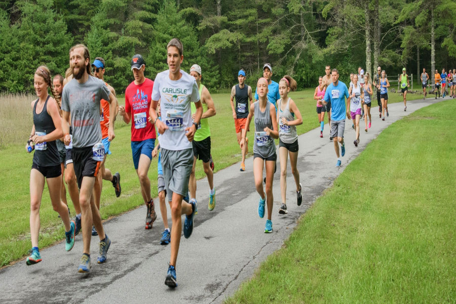 5k runners start the second leg of Watoga State Park's Half Marathon and 5k races. Photo by the Watoga State Park Foundation, Inc.