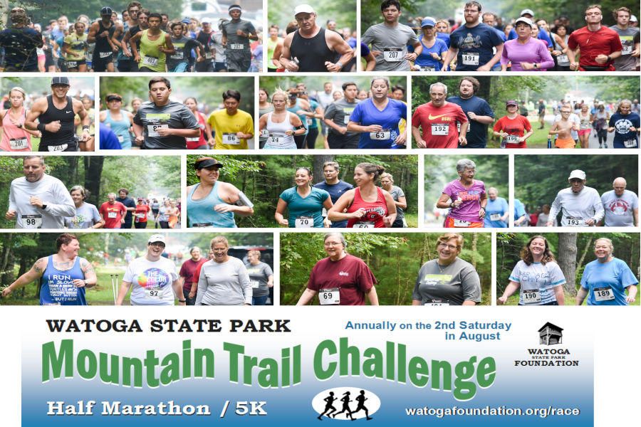 Many runners faces are depicted in this collage from Watoga State Park's Mountain Trail Challenge Races set to start on August 14.