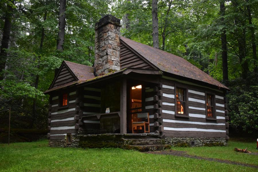 "Cabin 34, aka ""The Honeymoon Cabin,"" on a wondrous summer evening."