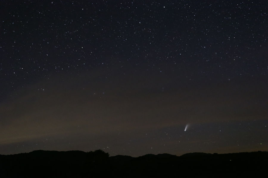 Comet Neowise in July 2020 from the Anne Bailey parking lot at Watoga. © Angela Hill.
